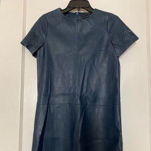 Zara basic blue leather mini dress